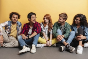 group of teens smile